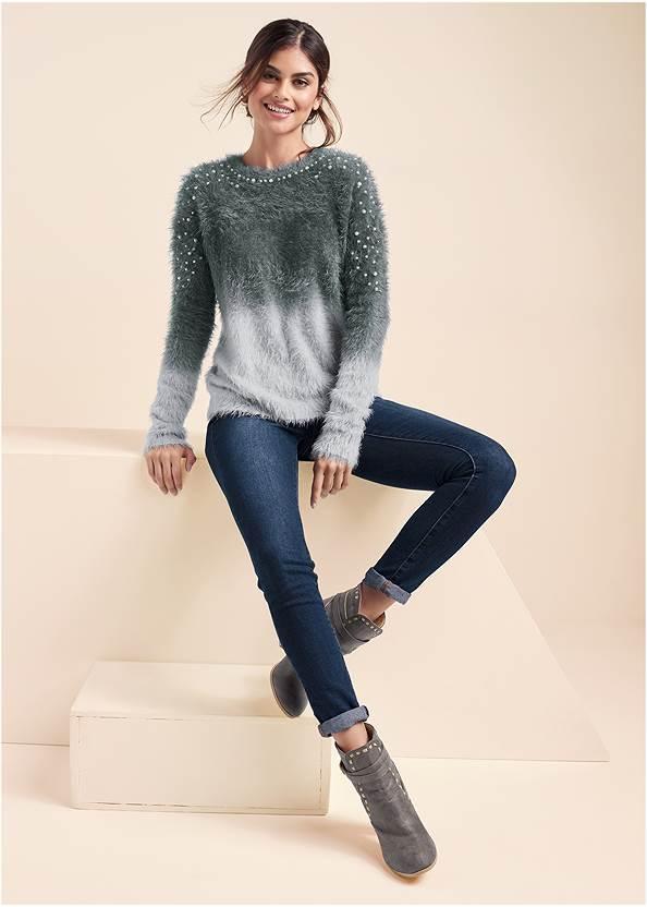Alternate View Cozy Pearl Trim Sweater