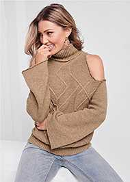 Detail front view Cut Out Shoulder Sweater