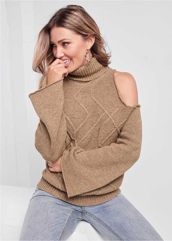 Cut Out Shoulder Sweater,Mid Rise Color Skinny Jeans,Fringe Handbag