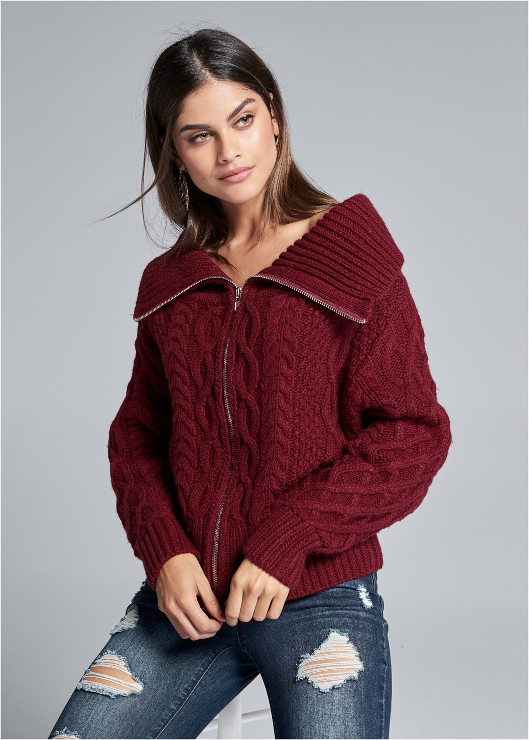 Zip Front Cable Knit Cardigan,Ripped Skinny Jeans,Knee High Block Heel Boot