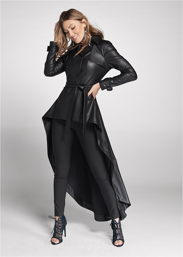 High Low Faux Leather Trench,Mid Rise Slimming Stretch Jeggings,Lace Detail Bootie,Rhinestone Fringe Earrings
