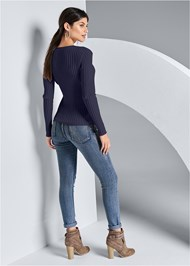 Back View Ribbed Cut Out Sweater