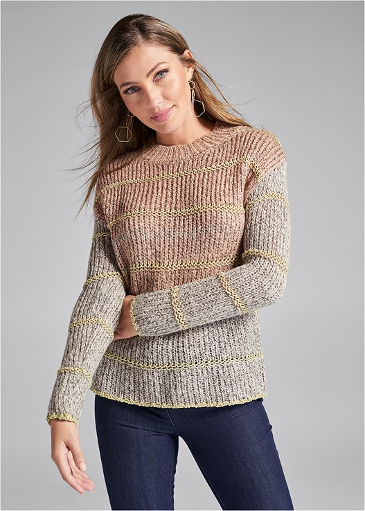 STRIPED LUREX SWEATER,SLIMMING STRETCH JEGGINGS,LACE UP BOOTIE