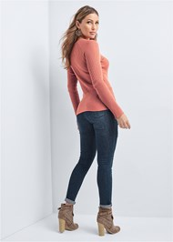 Back View Ribbed Tie Detail Sweater