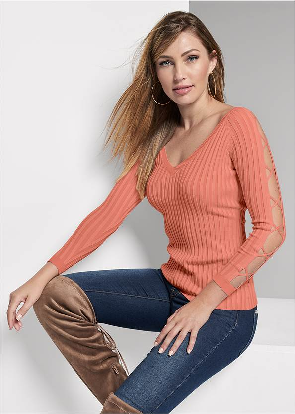 Sleeve Detail Sweater,Mid Rise Color Skinny Jeans,Over The Knee Stretch Boots
