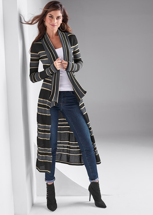 STRIPED DUSTER,SEAMLESS CAMI,COLOR SKINNY JEANS,LACE UP BOOTIE