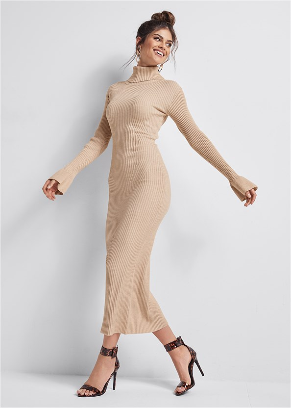 Ribbed Sweater Dress,Seamless Unlined Bra,Bow Detail Print Heels