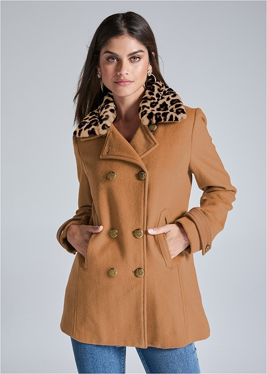 DOUBLE BREASTED COAT,COLOR SKINNY JEANS,TIGER DETAIL EARRINGS