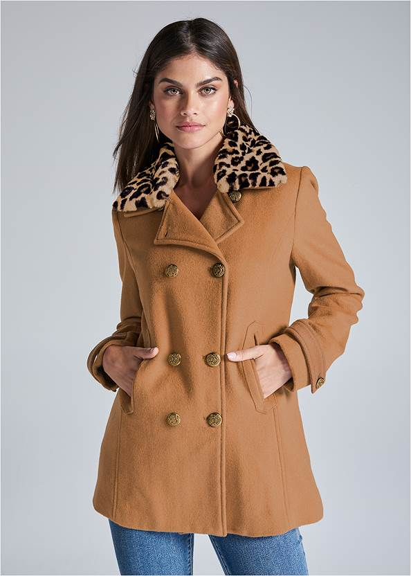 Double Breasted Coat,Mid Rise Color Skinny Jeans,Tiger Detail Earrings