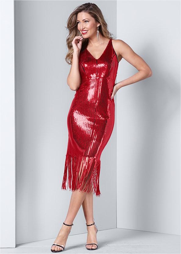 Sequin Fringe Midi Dress,Push Up Bra Buy 2 For $40,Lucite Detail Heels,Rhinestone Fringe Earrings,Striped Sequin Backpack