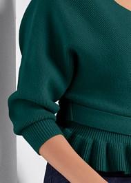 Alternate View Peplum Tie Front Sweater