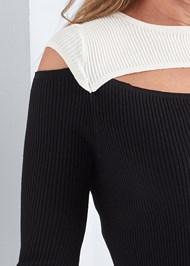 Alternate View Cut Out Ribbed Sweater
