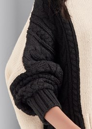 Alternate View Cable Color Block Sweater