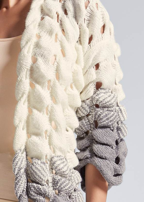 Detail front view Chunky Open Knit Duster