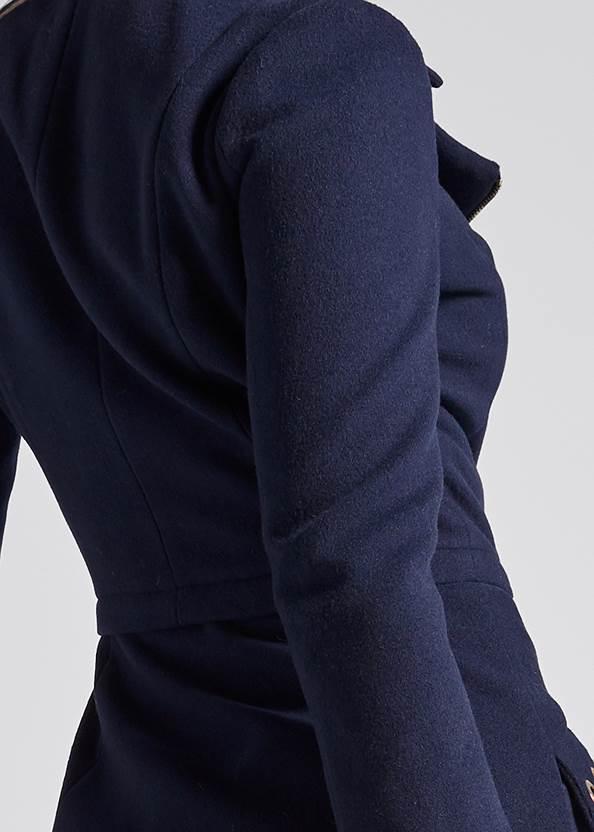 Detail back view Long Asymmetrical Zipper Coat