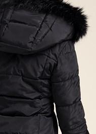 Detail back view Faux Fur Trim Puffer Jacket