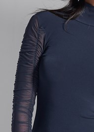 Detail front view Mesh Mock Neck Top