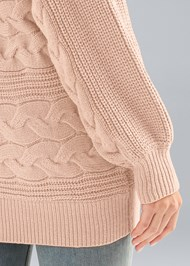 Detail back view Boat Neck Cable Knit Sweater
