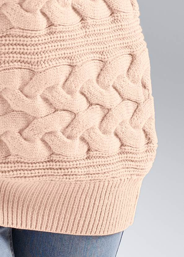 Detail front view Boat Neck Cable Knit Sweater