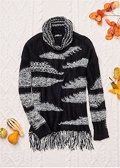 contrasted fringe sweater