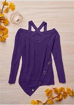 crisscross neck sweater