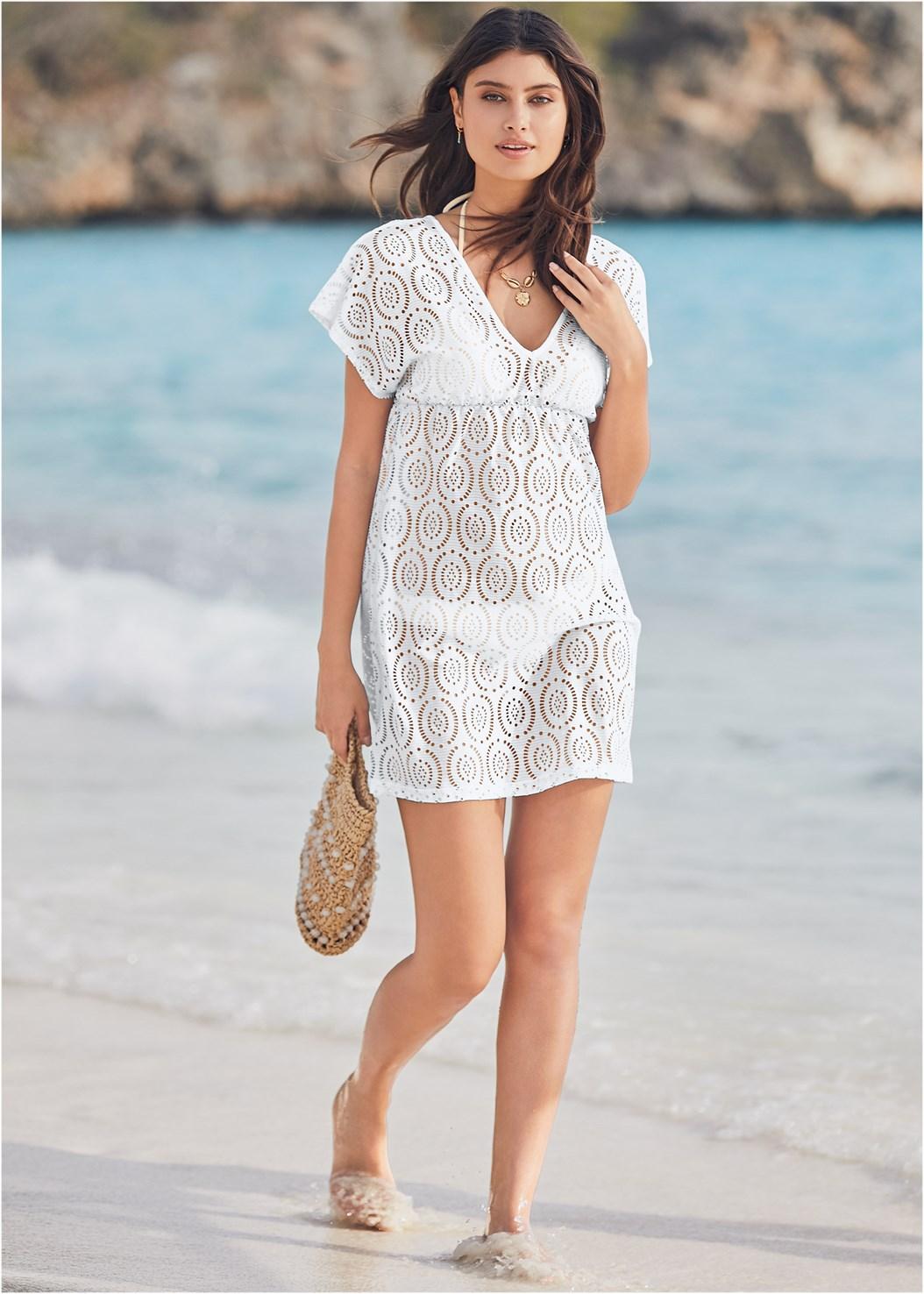 Crochet Dolman Cover-Up,Triangle String Bikini Top,Scoop Front Classic Bikini Bottom