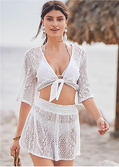 lace detail cover-up short