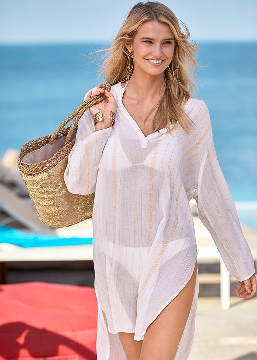 MONACO COVER-UP DRESS,TRIANGLE BIKINI TOP,LOW RISE BIKINI BOTTOM,SCOOP FRONT BIKINI BOTTOM,HOOP DETAIL EARRINGS