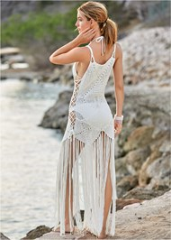 Back View Crochet Cover-Up Dress