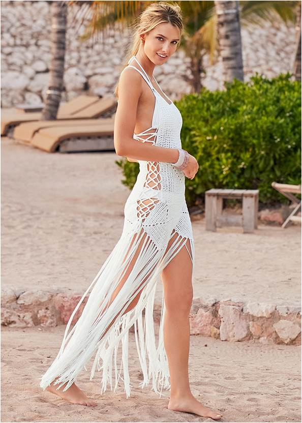 Crochet Cover-Up Dress,Triangle String Bikini Top,Scoop Front Classic Bikini Bottom ,Low Rise Classic Bikini Bottom ,Oversized Tassel Earrings
