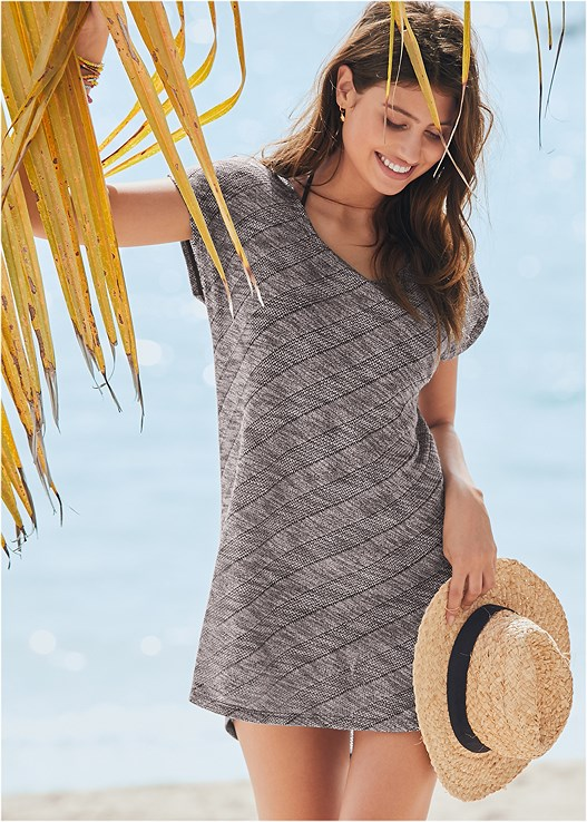 SCOOP NECK COVER-UP DRESS,TRIANGLE BIKINI TOP,MID RISE STRAPPY BOTTOM,SCOOP FRONT BIKINI BOTTOM,TWO TONE FLOPPY HAT
