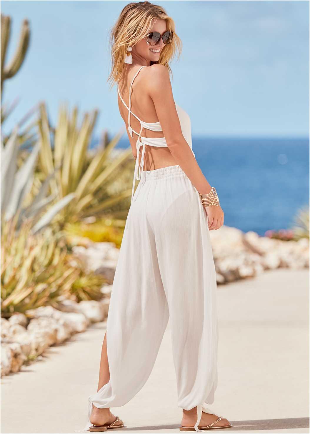 Strappy Back Cover-Up Jumpsuit,Triangle String Bikini Top,Scoop Front Classic Bikini Bottom ,Low Rise Classic Bikini Bottom ,Fringe Drop Earrings