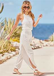 Front View Strappy Back Cover-Up Jumpsuit