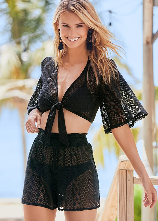 LACE DETAIL COVER-UP SHORT,KNOTTED CROCHET CROP TOP,TRIANGLE BIKINI TOP,SCOOP FRONT BIKINI BOTTOM,LOW RISE BIKINI BOTTOM