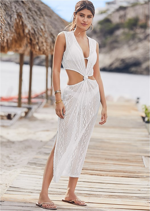 KNOTTED CROCHET COVER-UP,TRIANGLE BIKINI TOP,SCOOP FRONT BIKINI BOTTOM,LOW RISE BIKINI BOTTOM