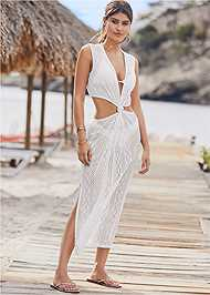 Front View Knotted Crochet Cover-Up