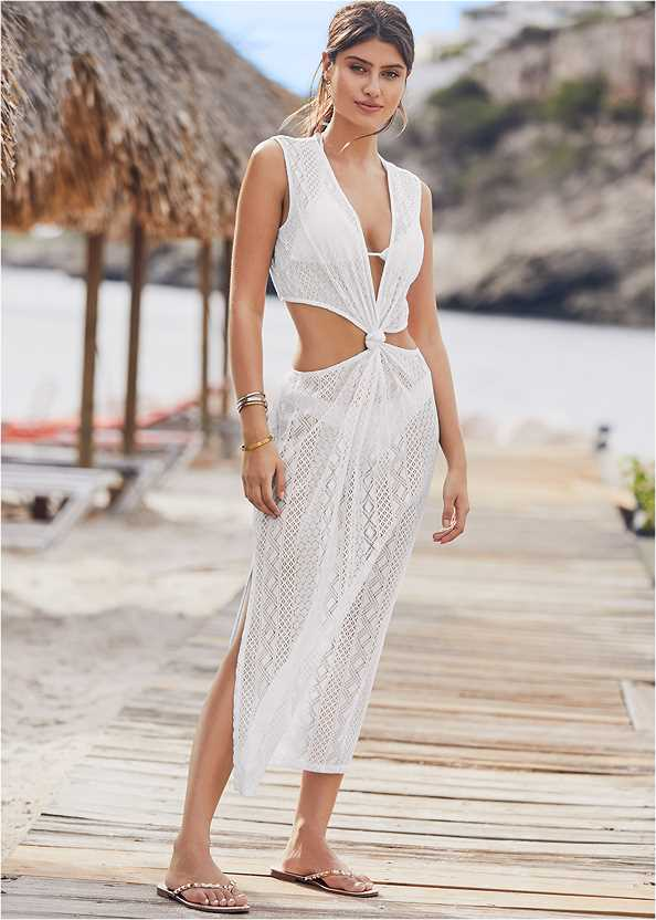 Knotted Crochet Cover-Up,Triangle String Bikini Top,Scoop Front Classic Bikini Bottom ,Low Rise Classic Bikini Bottom