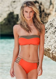 Front View Color Block Bandeau Top