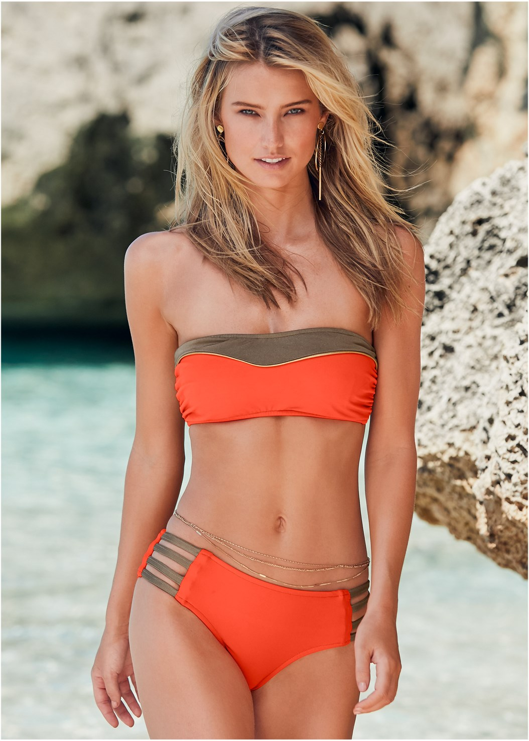 Color Block Bandeau Top,Mid Rise Strappy Bottom,Color Block Triangle Top,Color Block Tie Side Bottom,Side Stripe Cover-Up Pants