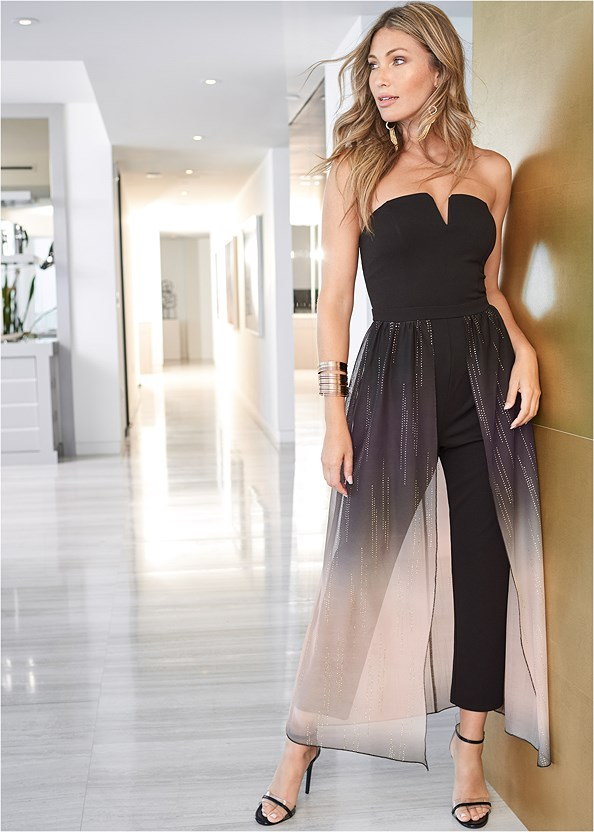 Ombre Jumpsuit,Lucite Detail Heels,High Heel Strappy Sandals