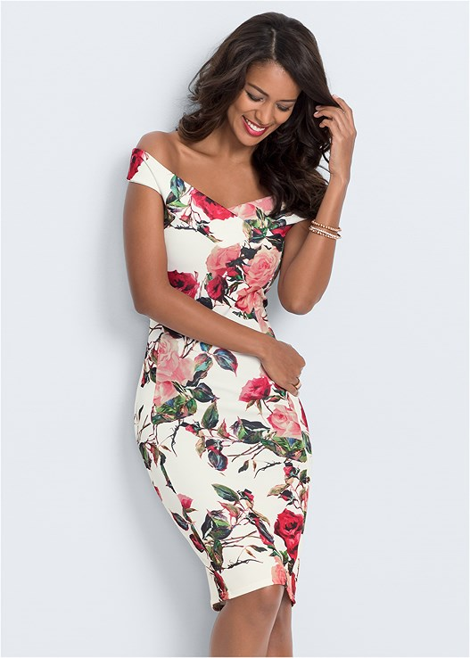 FLORAL BODYCON DRESS,EVERYDAY YOU STRAPLESS BRA,HIGH HEEL STRAPPY SANDALS,WRAP AROUND HEELS,STUDDED STRAPPY HEELS