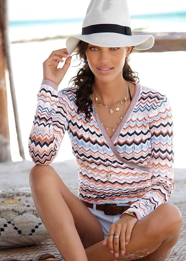 Wrap Detail Sweater,Frayed Cut Off Jean Shorts,Embellished Wedges,Shell Detail Long Necklace,Straw Belt Bag
