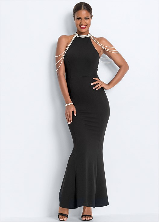 PEARL DETAIL LONG DRESS,SMOOTH LONGLINE PUSH UP BRA,STRAPPY HEELS