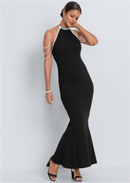 Alternate View Pearl Detail Long Dress