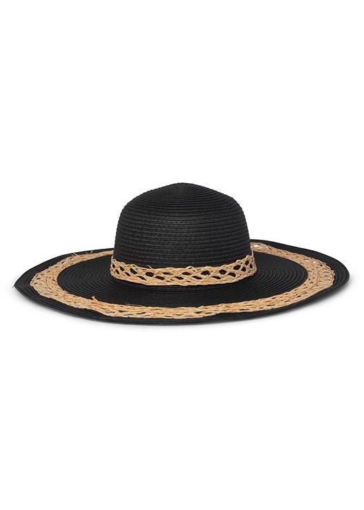TWO TONE FLOPPY HAT,PALM PRINT MAXI DRESS,TEAR DROP EARRINGS