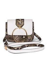Flatshot front view Print Detail Handbag