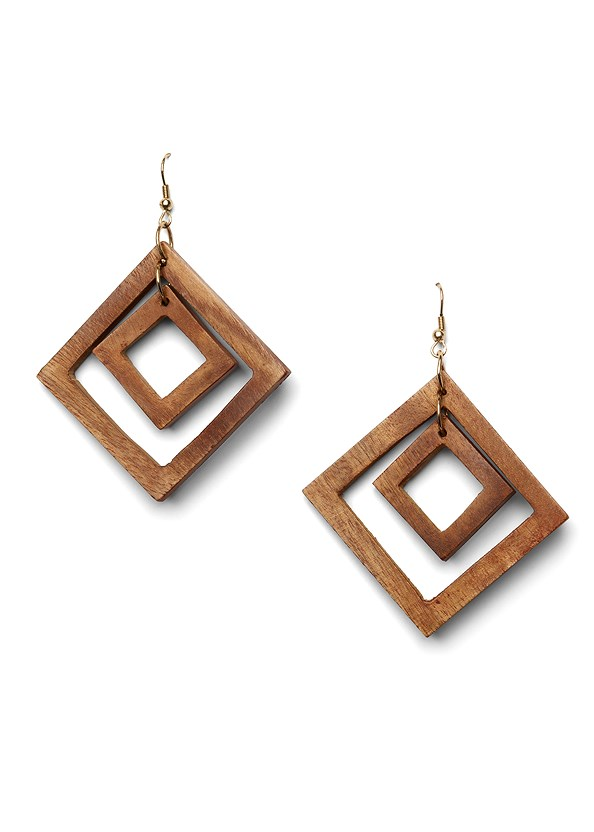 Wood Earrings,Fringe Detail Cover-Up Top