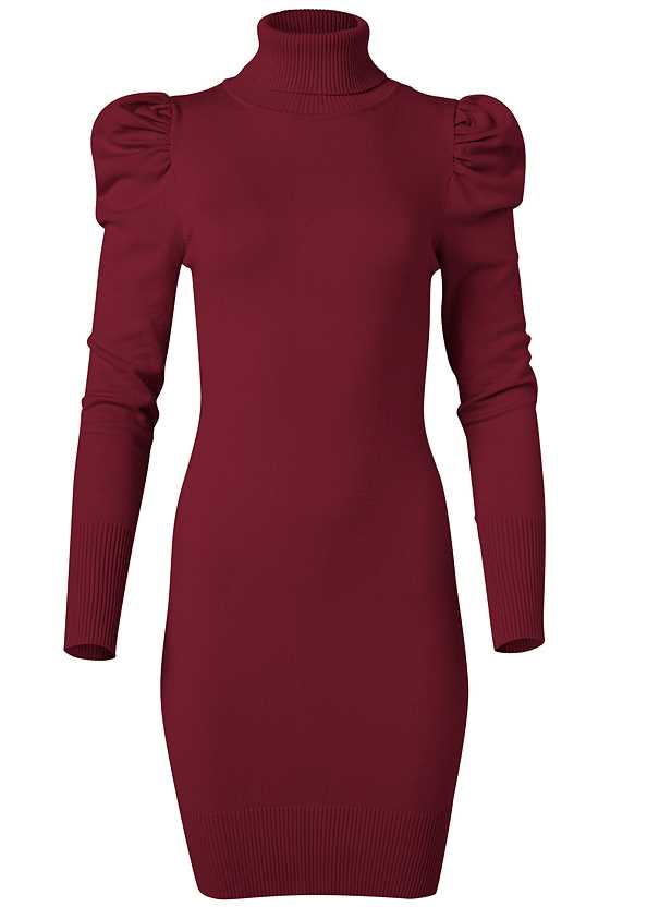 Turtleneck Sweater Dress,Ankle Strap Heels