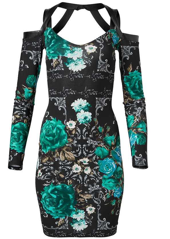 Floral Strappy Dress,Rhinestone Fringe Earrings,Soft Embellished Bucket Bag