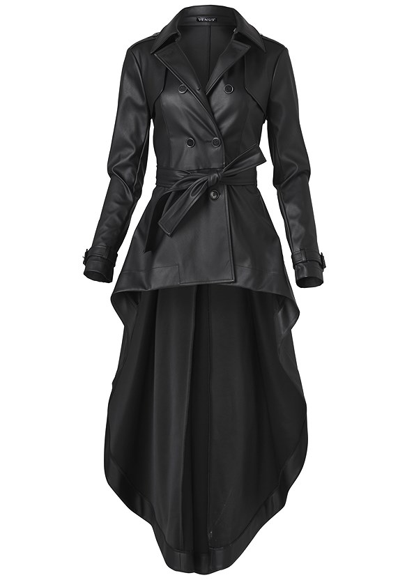 High Low Faux Leather Trench Coat,Mid Rise Slimming Stretch Jeggings,Lace Detail Bootie,Rhinestone Fringe Earrings